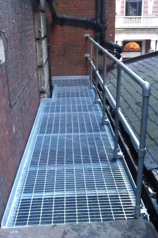 Industrial steel galvanised walkway and handrail