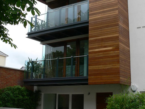 Stainless Steel and glass balconies