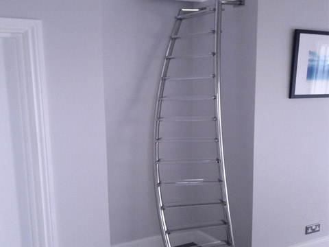 Stainless steel spiral ladder with perspex treads